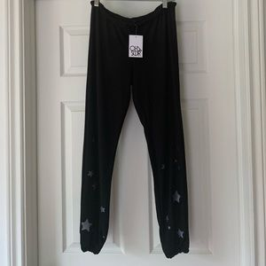 NWT Chaser Joggers Starry Night Print in Black